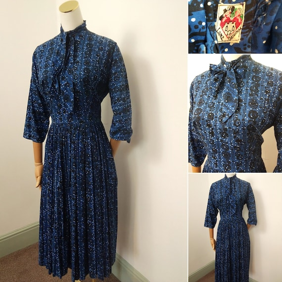 1950s blue pussy bow dress