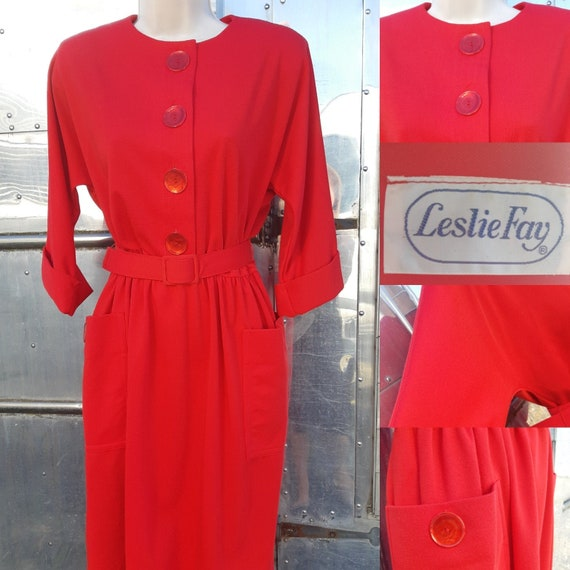 1950s Red Leslie Fay jersey dress