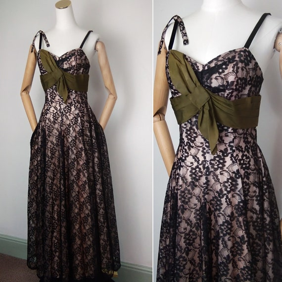 1940s Long black lace over lay dress with satin bo
