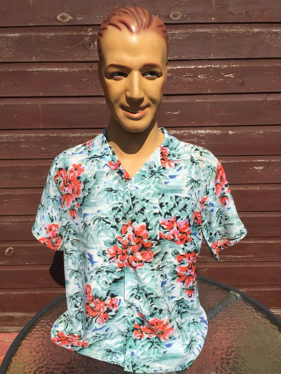 Large vintage rayon  Hawaiian shirt by Aloha