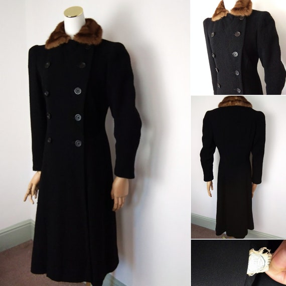 1940s bouclé wool double breasted coat