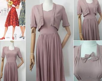 1940s dusky pink dress & bolero