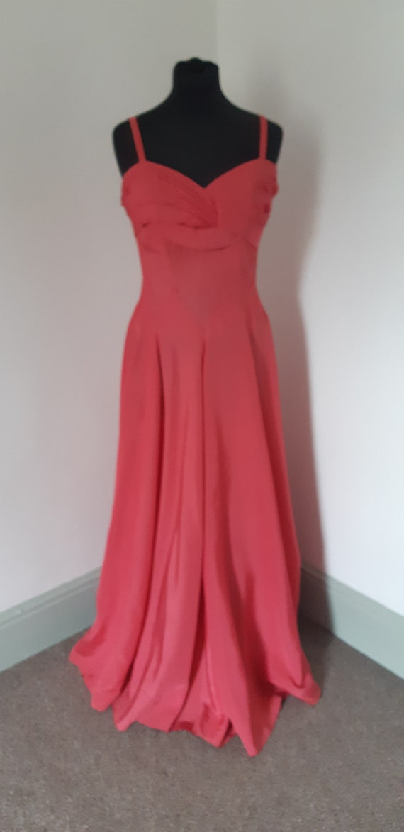 1940s rose pink taffeta dress