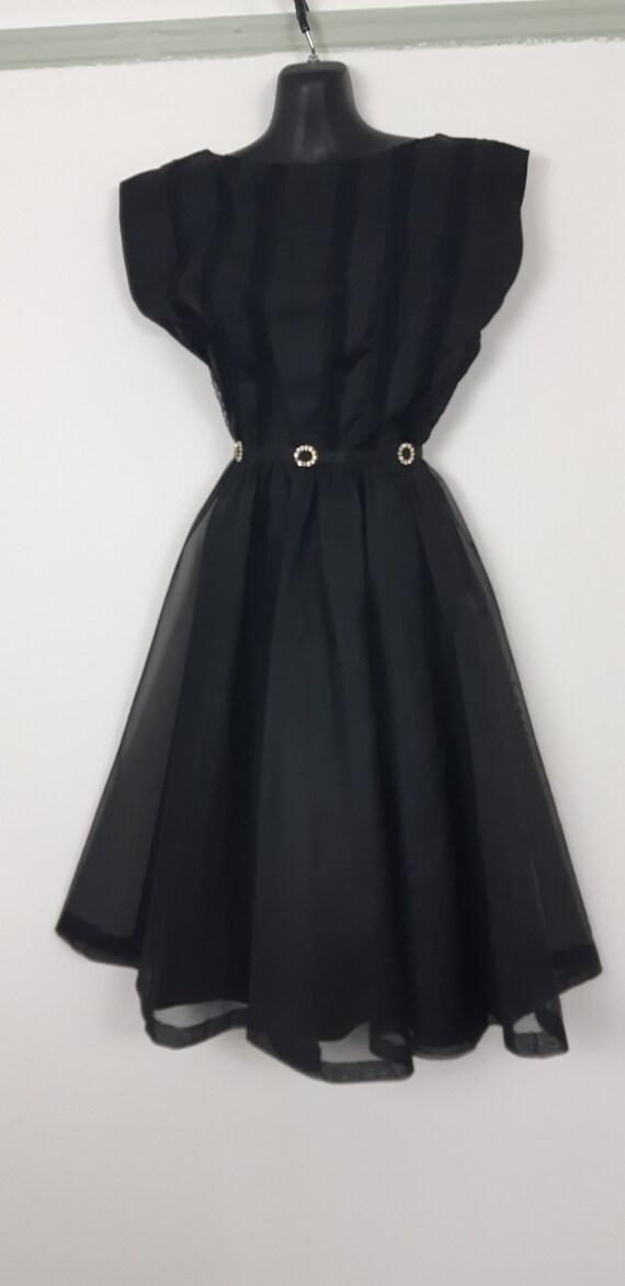 1950s Black chiffon cocktail dress - image 7