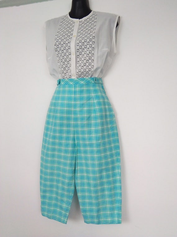 1950s turquoise Check pedal pushers