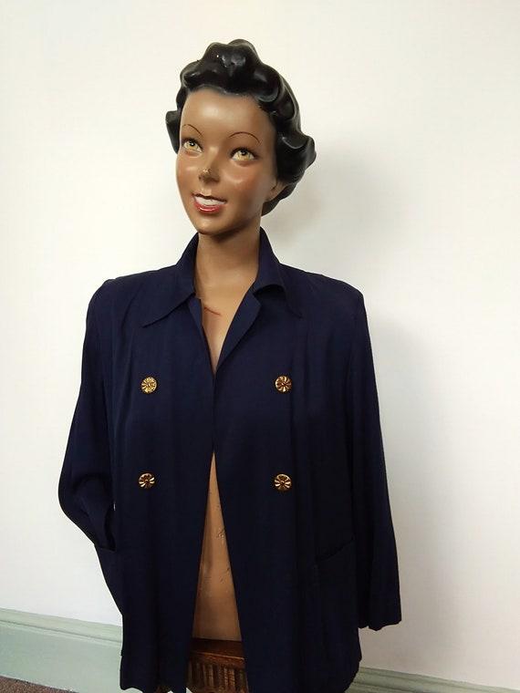 1940s navy Gaberdine swing jacket