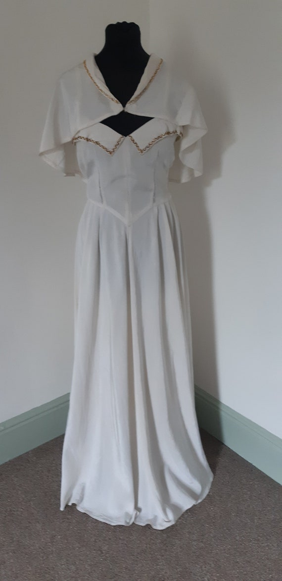 1940s white long dress and cape