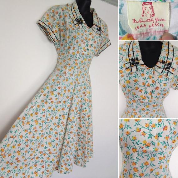 1940s novelty floral dress