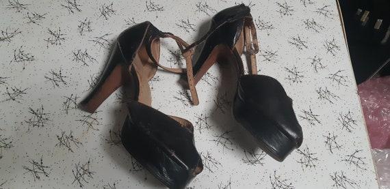 1940s black leather platforms
