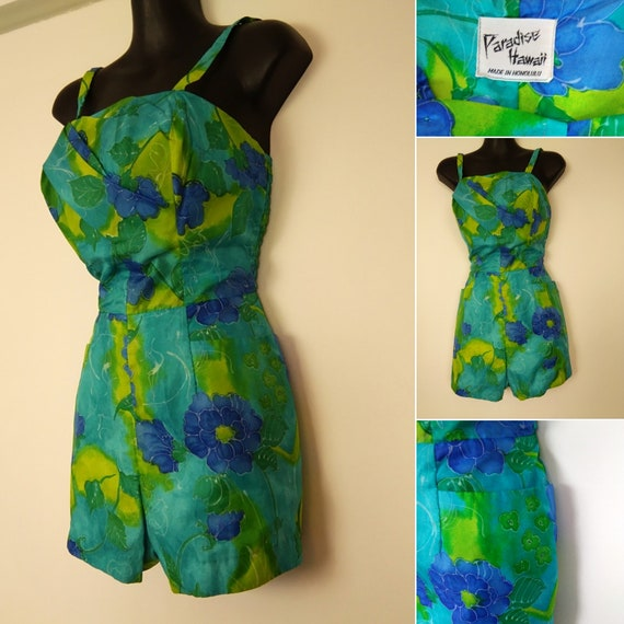1950s green and blue chiffon playsuit