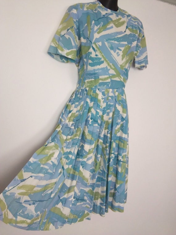 1950s blue and green pleated dress
