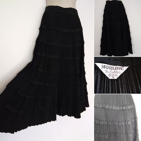 Vintage satin tiered circle skirt