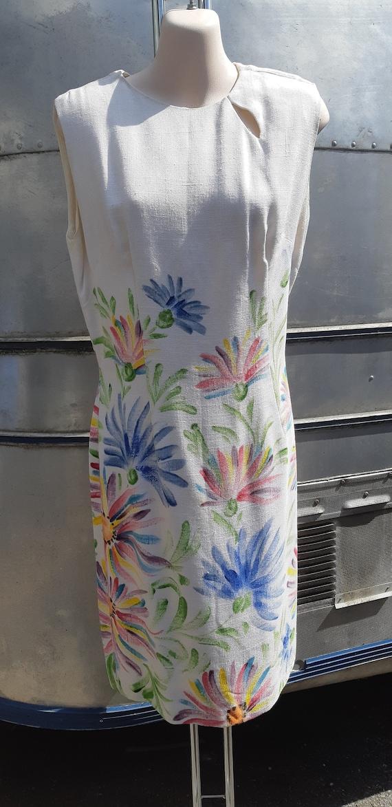 1950s handpainted white linen dress