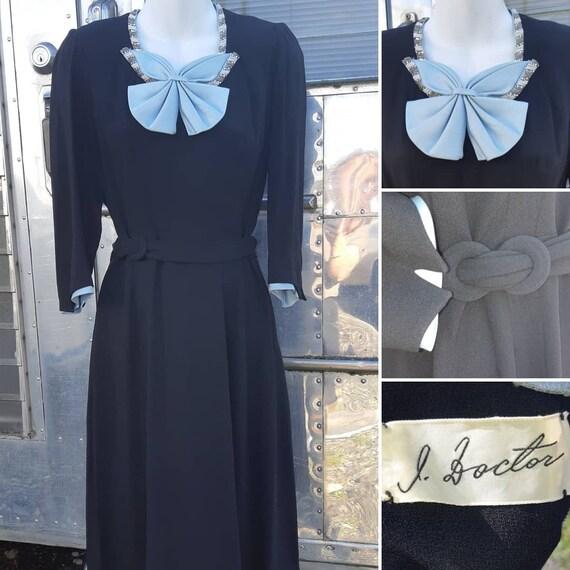 1940s blue bow dress