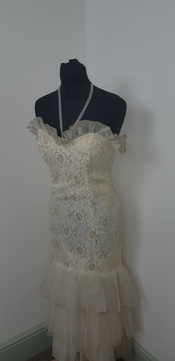 1950s lace & tulle mermaid gown