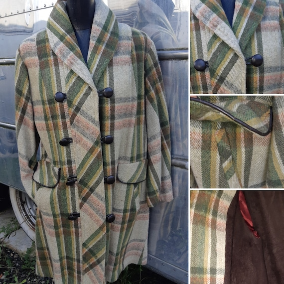 1950s green plaid coat
