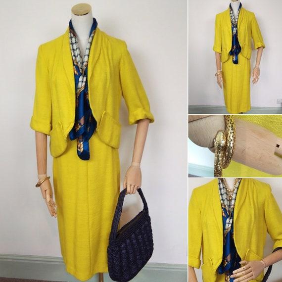 1950s Chartreuse linen suit