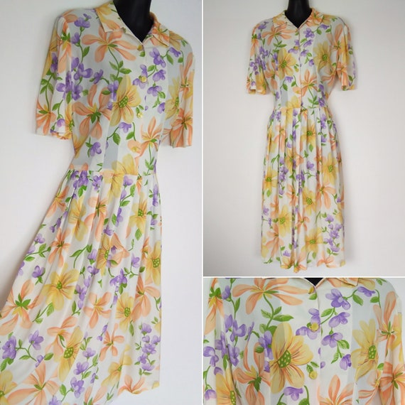 1940s novelty floral print dress