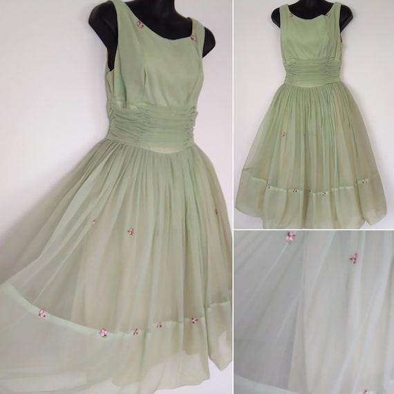 1950s apple green chiffon dress - image 1