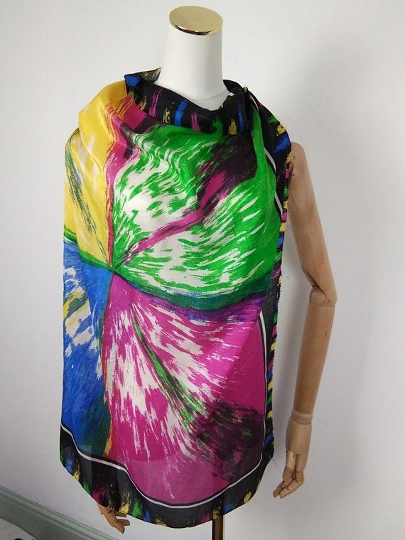Vintage silk rainbow scarf