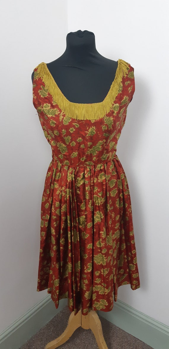 1950s Satin fringe dress