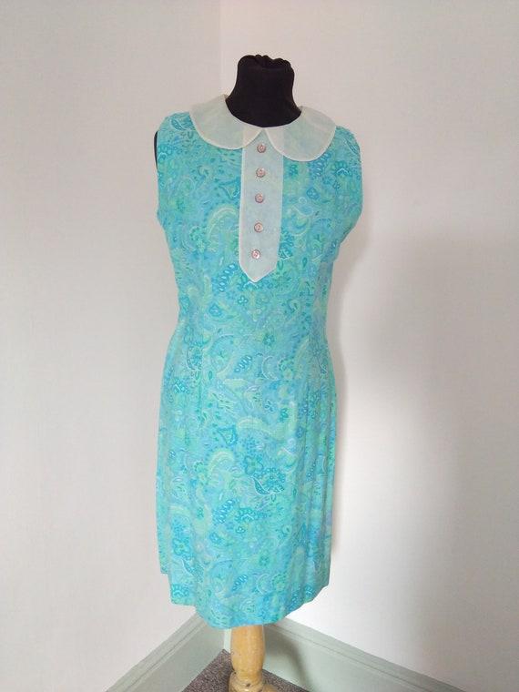 1960s blue Peter pan collar mini dress - image 1