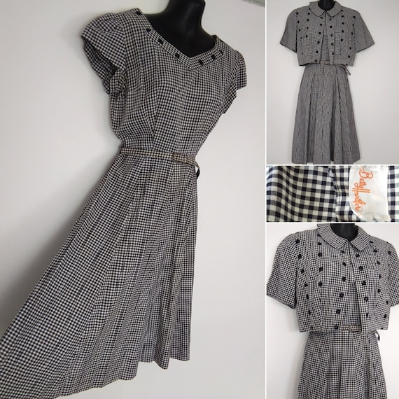 1950s black & white check dress and jacket