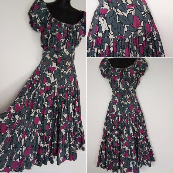 1950s Gypsy grey and pink dress