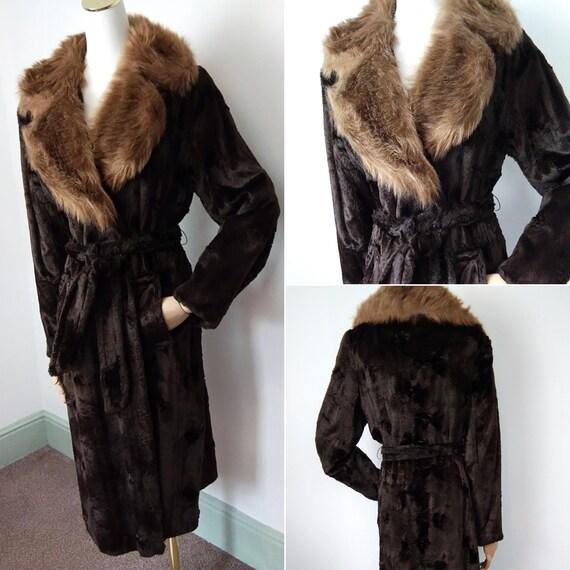 Vintage coat 70s does 30s wrap faux fur coat