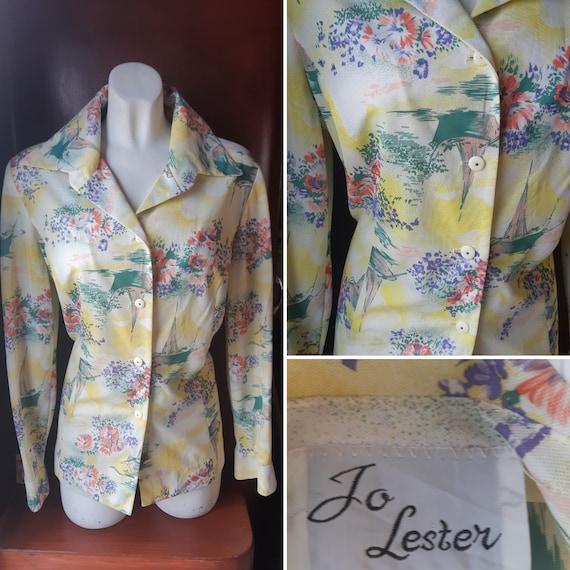 1970s novelty print blouse