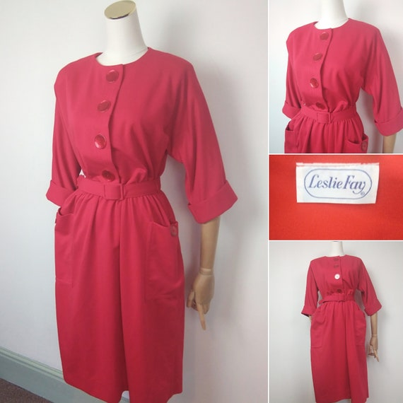 1950s jersey Red Leslie Fay dress