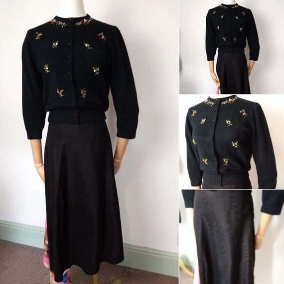 1940s /50s black satin taffeta skirt