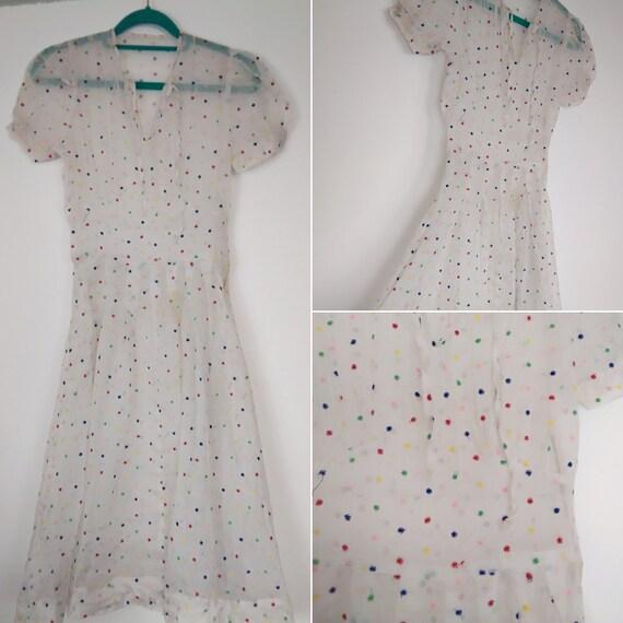 1940s star lawn cotton dress