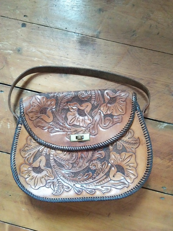 1940s tooled leather bag