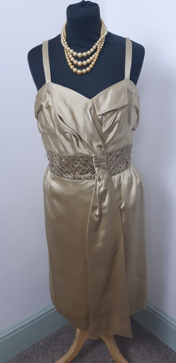 1950s Frank Usher Gold beaded cocktail dress