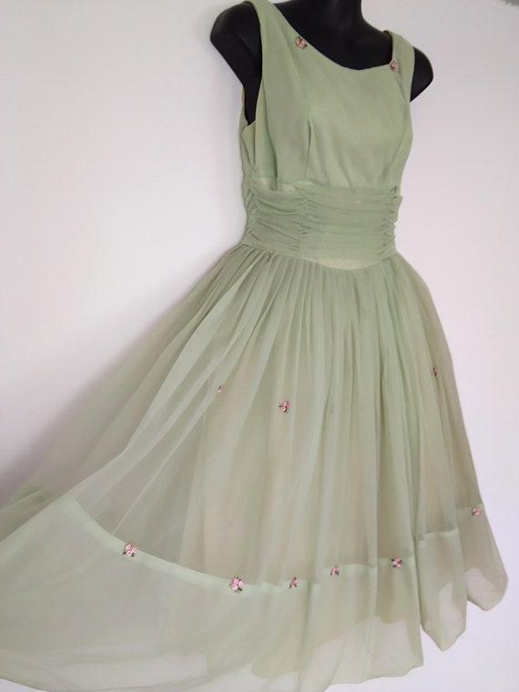 1950s apple green chiffon dress - image 4