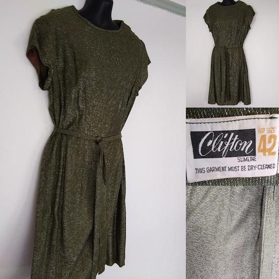 1950s green lurex dress
