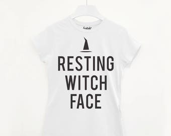 08694097ef4 Resting Witch Face Women s Halloween Slogan T-Shirt