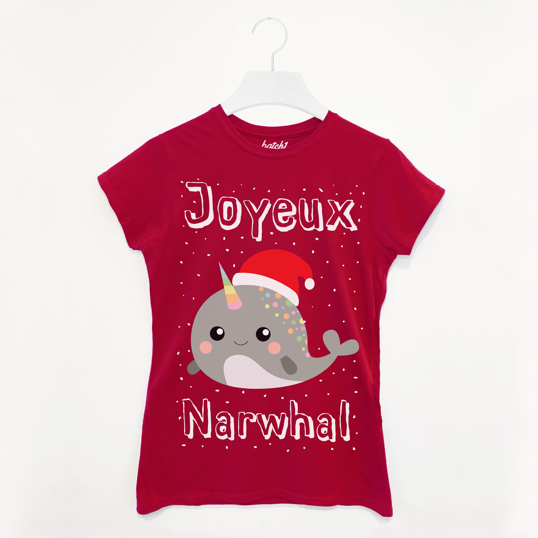 d1cb4b62b Joyeux Narwhal Women's Christmas T-Shirt | Etsy