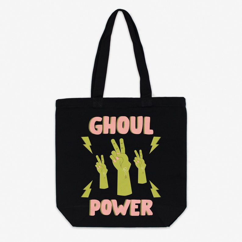 Ghoul Power Canvas Halloween Tote Bag