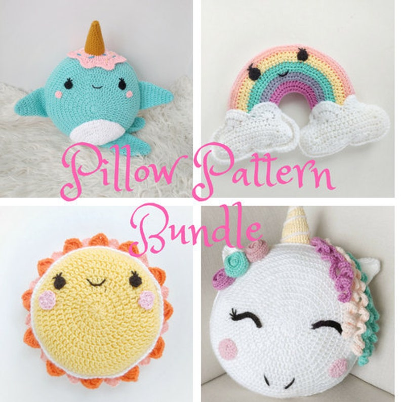Pillow Pattern Bundle/ Unicorn pillow/ Narwhal toy/ sun image 0