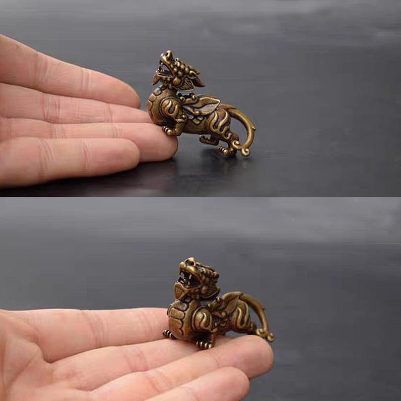 Antique Bronze Animal Arts,Dragon Figures in ancient decorative Buddhist Mala Loose Beads Necklace Guru Beads DIY Accessories Round Bead