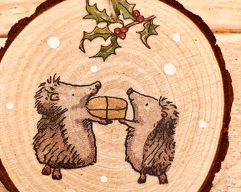 Wood Slice Woodland Hedgehog Christmas Tree Decoration