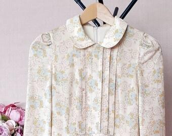 Judy 70's Floral Midi Dress // Size UK 6-8 // Peter-pan collar // ruffle front