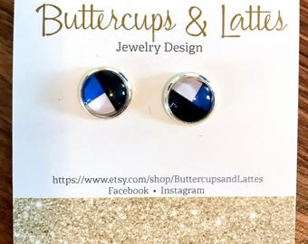 Blue Black and White Geometric Stud Earrings 10mm