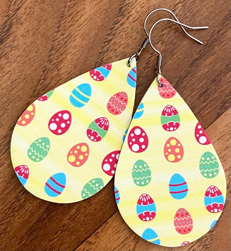 Easter Egg Leather Dangle Earrings Yellow Leather Dangles Easter Egg Dangles