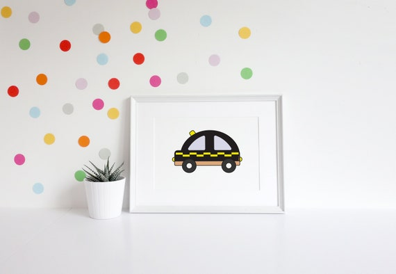 taxi black cab art print baby boy baby girl baby gift | etsy