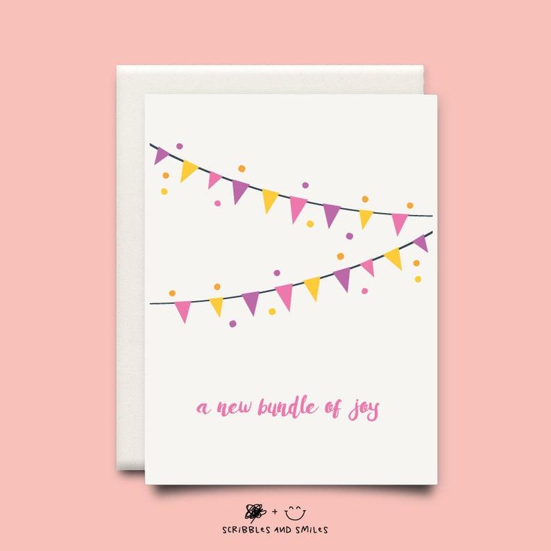 ffac45afc New bundle of joy - greeting card - new baby girl - new addition