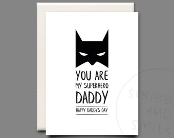 You are my superhero daddy- greeting card - Fathers day card - daddy card