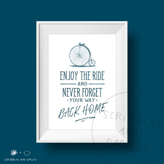 Enjoy the ride - home decor - typography quote print - wall art -  motivational quotes - family wall art